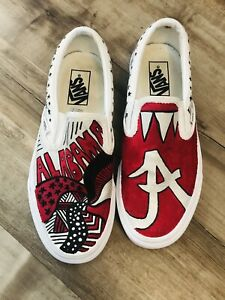 """Vans Old Skool """"Alabama Roll Tide"""" Customized Skateboard Shoes Women 9M Men 7.5"""