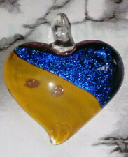 Two-Tone Heart Mixed Color Stardust Dichroic Glass Pendant 45x41MM DIY NEW