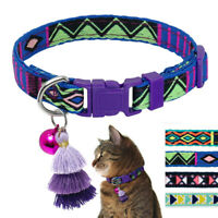 Handmade Embroidery Cat Collar with Bell Adjustable for Pet Puppy Kitten Purple
