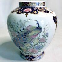 Vintage TOYO Japan Peacock Bird Floral Porcelain Ceramic Accent Vase Ginger Jar