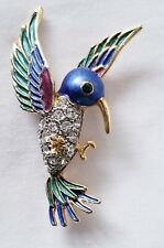 Vintage Bird Brooch Woodpecker Rhinestones enamel