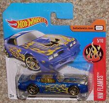 2017 Hot Wheels '77 Pontiac Firebird Blue #13 Short Euro Card Toy Car Moc Hw