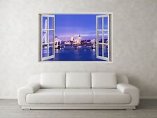 London City Scene 3D Full Colour Window Home Wall Art Stickers Mural Decal