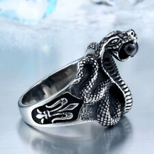 Titanium Steel Punk Heavy Metal Fashion Cobra Red Stone Snake Ring Stainless