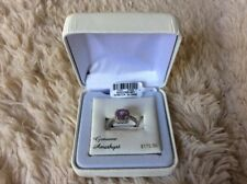 Amethyst and Cubic Zirconia Platinum Over Silver Square Hallo size 7 Purple Ring