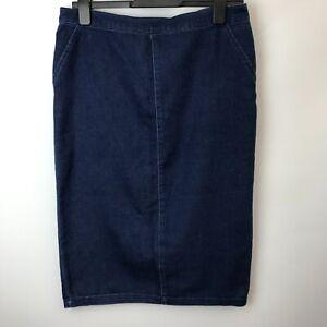 Blue Denim Skirt Size UK14 Length 27''Warehouse Back Vent  Faux Pockets