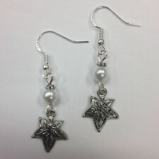 Ivy Leaf Earrings w/pearl accent bead, Sterling Silver Earwires FREE SHIPPING