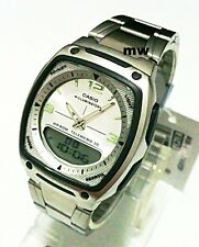 CASIO AW81D-7AV DATABANK STAINLESS STEEL DIGITAL ANALOG WATCH 10 YEAR BATTERY