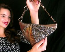RARE COUTURE DESIGNER BLISS LAU SEQUINED LEATHER Purse Bag MODERN ART SHAPE