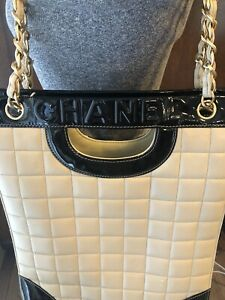 CHANEL Black Cream Jumbo Tote Gold Chain Choco Bar Bag Purse Lambskin Quilted NR