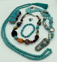 Turquoise Colored Jewelry Blue Green Lot Beautiful Pieces Great Variety!