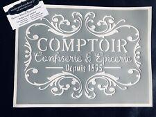 Pochoir Adhésif Réutilisable 30 x 20 cm Affiche Comptoir Épicerie Ancienne