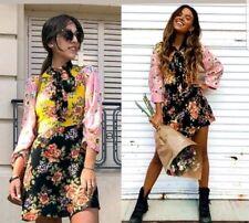 ZARA FLORAL PRINT PATCHWORK FLOWING MINI DRESS Größe XS BLUMEN KLEID TUNIKA NEU