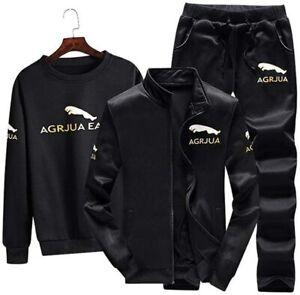 Argjua Mens Activewear Leisure 3-Piece Set Luxury SportsTracksuit, Black Size M
