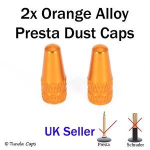 2x Orange Presta Alloy Valve Stem Dust Caps racing Bike kids Bicycle cover cycle
