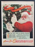 1945 Santa Claus Christmas Art Chesterfield Cigarettes Tobacco Vintage Print Ad