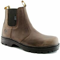 Kanyon Teak Safety Boots Leather Waterproof Outdoor Country Yard Boot Brown
