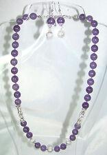 lila Jade Perlen 10 mm Edelstein Kette 53 cm + Ohrringe und versilberten Teilen