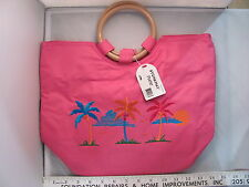NWT Stowaway Pretty Pink Zippered Beach Purse Bag Tote Tropical Palm SH252