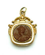 Antique Victorian Round Intaglio Carnelian Maiden's Watch Chain Fob or Pendant