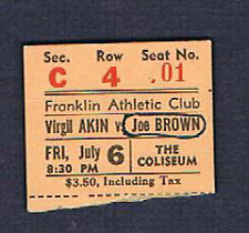 1951 Joe Brown Virgil Akins Armstead Archie Fontaine Kelly Joseph boxing ticket