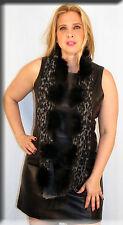 New Gray Leopart Print Infiniti Scarf Fox Fur Pom Poms - Efurs4less