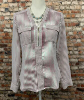 Express Women's Size XS Red Striped button Front Long Sleeve Top Blouse #11C47