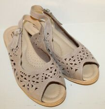 Spring Step Womens Brown Leather Pep Toe Slingback Sandal Shoes Sz 9 / 40 Italy
