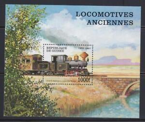 LRT79 - LOCOMOTIVE RAILROAD TRAIN STAMPS GUINEE GUINEA 1997 TRAINS MNH