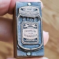 Vintage Copper Amp Wood Letterpress Print Block Hellmans Mayonnaise Jar Pb37