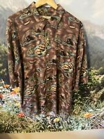 Vintage M.E. Sport Men's VOLCANO Hawaiian Rayon Shirt XL Palm Trees Aloha Tiki