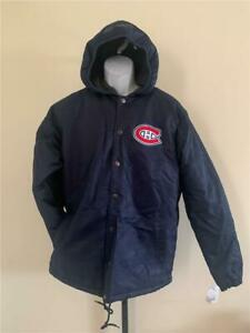 New Montreal Canadiens Mens Size L Navy G-III Heavy Button up Coat