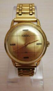 Gold plated AU 20 men's wristwatch 21 jewels RARE Raketa 2609A USSR Soviet