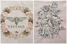 2 Shabby Chic Rose Wreath Butterfly & Vintage Clock Fabric Iron On Heat Transfer