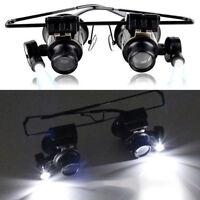 20X LED Magnifier Glasses Gemstone Appraisal Watch Repair Glasses Tool Binocular