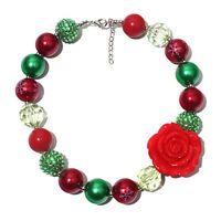 Fashion Red Flower Christmas Chunky Bubblegum Girl Necklace kids Baby Jewelry