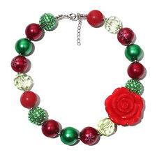 Girl Necklace kids Baby Jewelry Fashion Red Flower Christmas Chunky Bubblegum