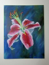 Sale Lily 2 Flower Art Blank Greeting Card Original Acrylic Painting floral