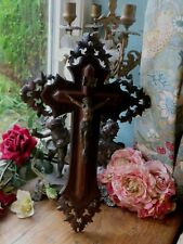 More details for an exceptional antique french carved hard wood crucifix / cross ~ 1920's