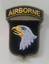 Patch US 101st Airborne langue BLANCHE OD border WW2 D-Day REPRO