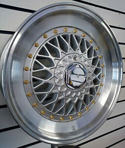 """17"""" BBS RS STYLE SILVER 5x100 ALLOY WHEELS TO FIT VW GOLF MK4 SET OF 4"""