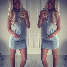 Womens Fashion Sleeveless Bodycon Casual Hooded Hoodies Short Mini Dress Tops