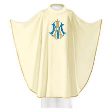 White Embroidered Catholic Gothic Marian Chasuble Vestment With Stole