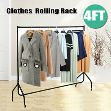 4Ft Rolling Clothes Rack Heavy Duty Commercial Garment Hanger Drying Stand Rail