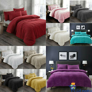Teddy Bear Fleece Duvet Cover with Pillow Case Thermal Warm Soft Bedding Set