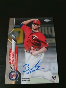 Brusdar Graterol 2020 Topps Chrome Baseball RC Auto Card MLB Minnesota Twins