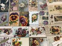 Nice~LOT of 25 ~Pansies~PANSY~Flowers Floral~Greetings Postcards-In Sleeves-b675
