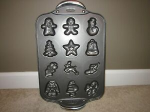 Holiday Christmas Cookie Molds Shapes Metal Pan Tray 12 Designs Non Stick