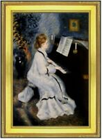 Framed, Pierre Renoir Lady at the Piano Repro, Hand Painted Oil Painting 24x36in