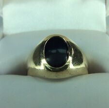 Modern Men's Ring Black Onyx.  HEAVY Gold (J324)